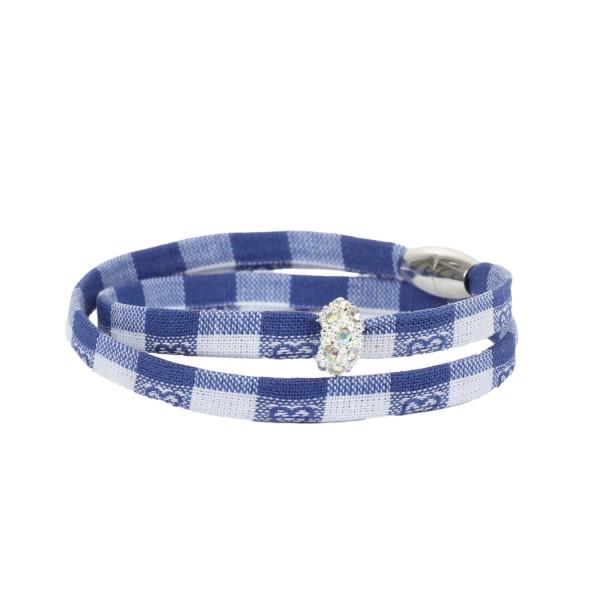Trachtenarmband Morgentau bayrisch blau weiß kariert