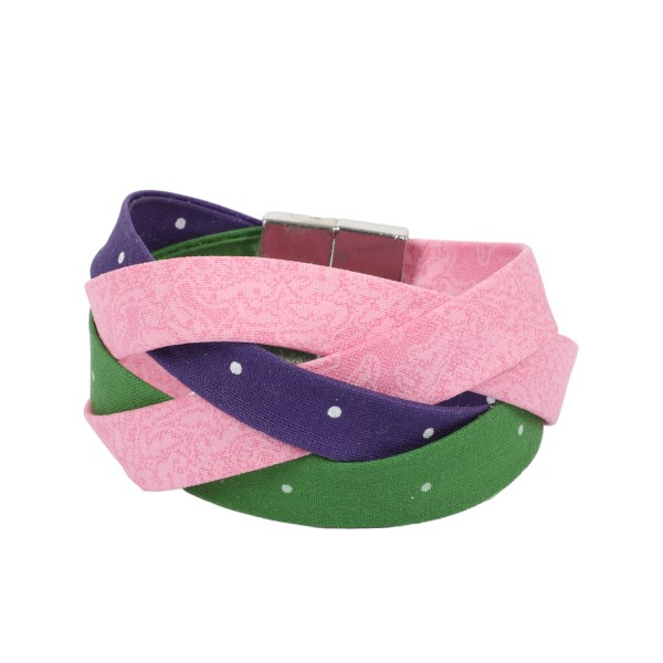Trachtenarmband Altweibersommer maigrün-lila-rosa